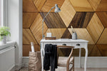 3D Retro Wooden Geometric Wall Mural Wallpaper 29