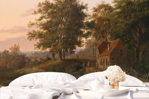 3D country cottage oil painting wall mural wallpaper 56