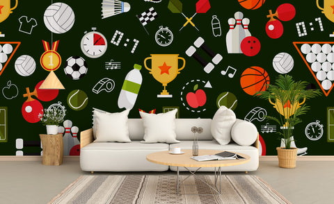 3D Cartoon Ball Games Wall Mural Wallpaper 52