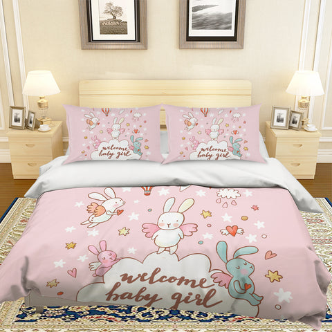 3D Cartoon Rabbit Pink Quilt Cover Set Bedding Set Pillowcases 59