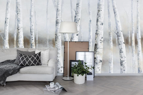 3D Oil Painting Trees Forest Fog Wall Mural Wallpaper 26 - Jessartdecoration