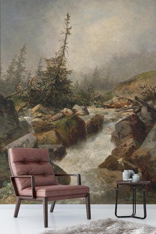 3D mountain river oil painting wall mural wallpaper 91