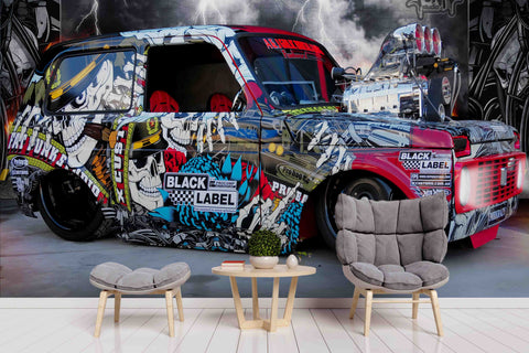 3D Colourful Graffiti Vintage Vehicle Wall Mural Wallpaper ZY D8