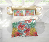 3D Pineapples Red Floral Quilt Cover Set Bedding Set Pillowcases 35