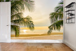 3D Beach Sea Palm Tree Wall Mural Wallpaper 60