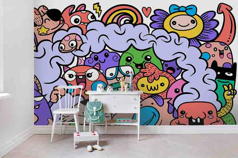 3D Cartoon Graffiti Wall Mural Wallpaper SF75