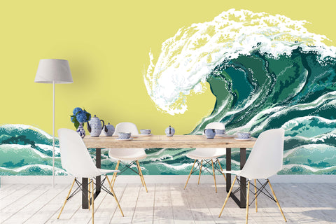 3D green sea waves wall mural wallpaper 09