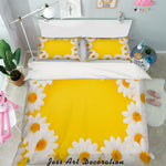 3D White Daisy Yellow Quilt Cover Set Bedding Set Pillowcases 15