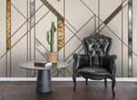 3D Golden Geometric Lines Wall Mural Wallpaper 55 - Jessartdecoration