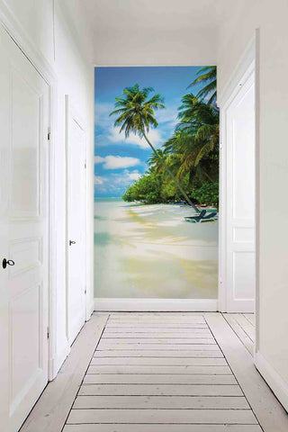 3D Blue Sky Coconut Tree Wall Mural Wallpaper 47