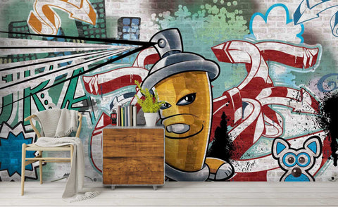 3D Cartoon Colourful Graffiti Art Symbol Wall Mural Wallpaper ZY D33