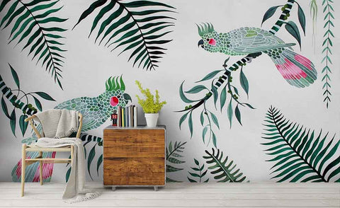 3D Hand Painting Birds Leaves Wall Mural Wallpaper 87