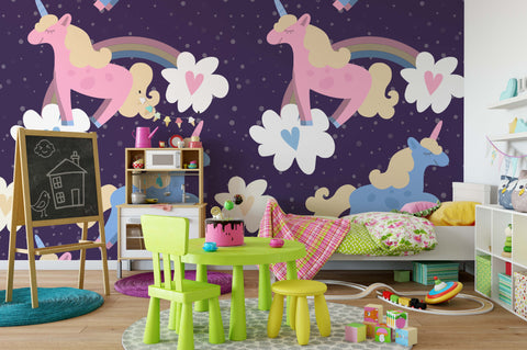3D Pink Unicorn Rainbow Wall Mural Wallpaper 116