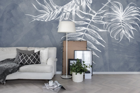 3D Grey Freehand White Leaves Wall Mural Wallpaper 10