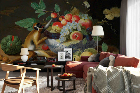 3D Oil Painting Fruit Monkey Wall Mural Wallpaper 1002