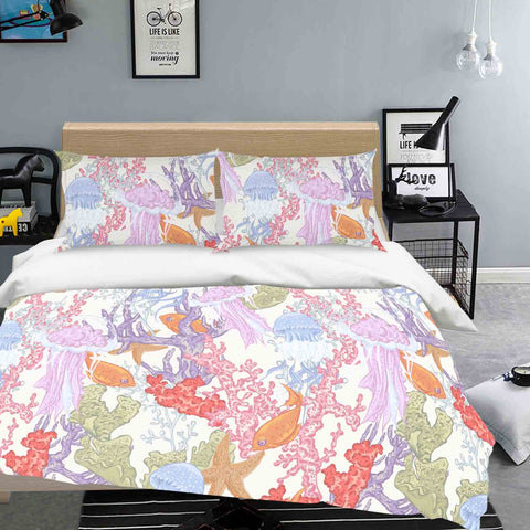 3D Jellyfish Coral Fish Starfish Quilt Cover Set Bedding Set Pillowcases 15