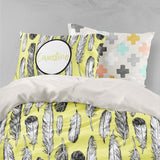 3D White Grey Feathers Quilt Cover Set Bedding Set Pillowcases 94