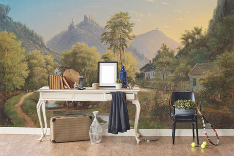 3D rural landscape oil painting wall mural wallpaper 68