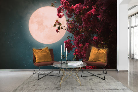 3D Sky Moon Flower Wall Mural Wallpaper 55