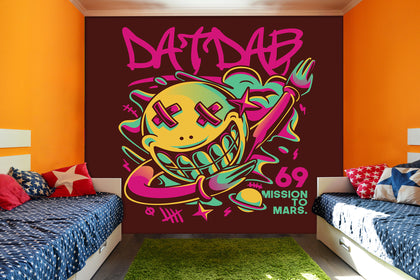 3D Cartoon Planets  Graffiti Wall Mural Wallpaper 14