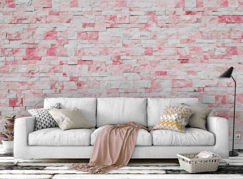 3D Pink Brick Wall Mural Wallpaper 19