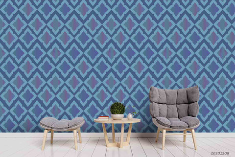 3D Hand Drawn Vintage Blue Pattern Wall Mural Wallpaper LXL
