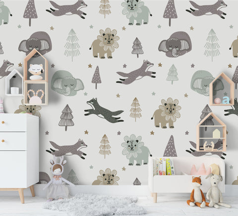 3D Cartoon Animal Tree Wall Mural Wallpaper 48