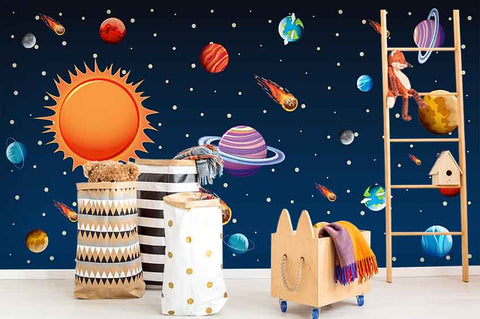 3D Cartoon Spaceship Wall Mural Wallpaper 11