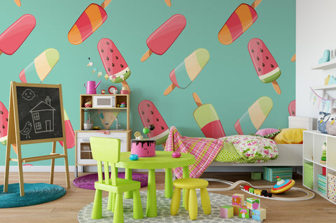 3D Ice Cream Green Wall Mural Wallpaper 34