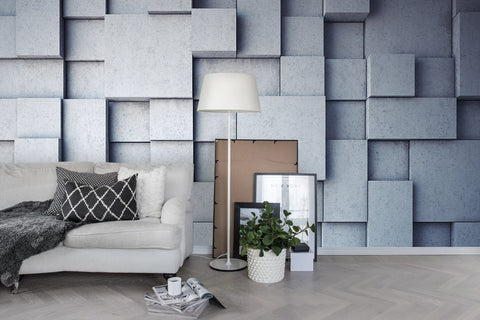 3D Grey Geometric Stone Wall Mural Wallpaper 18 - Jessartdecoration