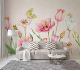 3D Watercolor Showy Floral Butterfly Wall Mural Removable 131 - Jessartdecoration