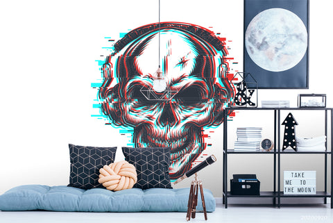 3D Human Skeleton Headphones Wall Mural Wallpaper WJ 3061