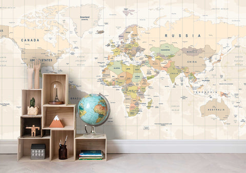 3D Colorful World Map Wall Ship Mural Wallpaper 24