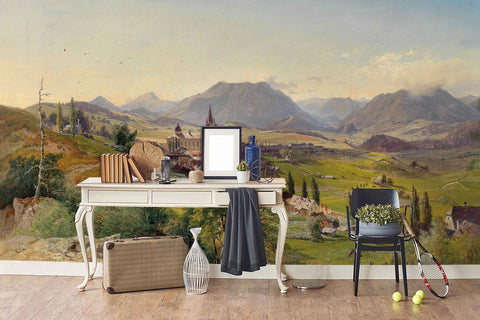3D countryside oil painting wall mural wallpaper 3