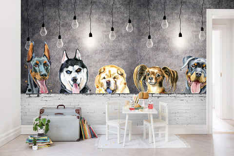 3D cartoon dogs grey background wall mural wallpaper 45