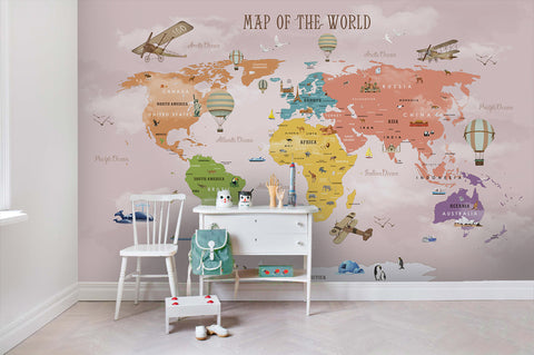 3D World Map Wall Mural Wallpaper SF39