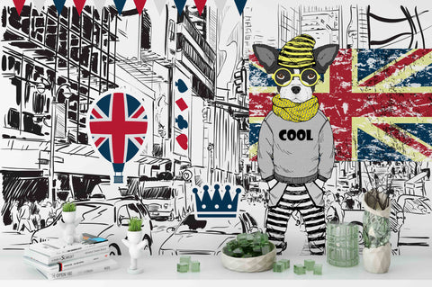 3D Union Flag City Cartoon Wall Mural Wallpaper 212