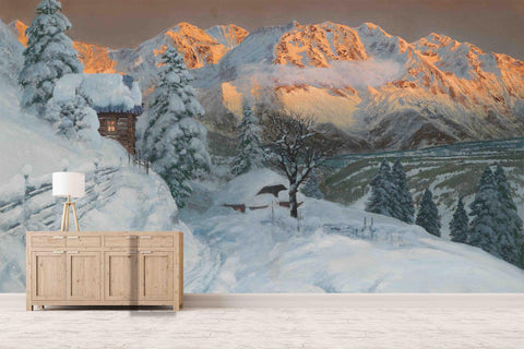 3D Rural Snow Scene Wooden House Wall Mural Wallpaper 69