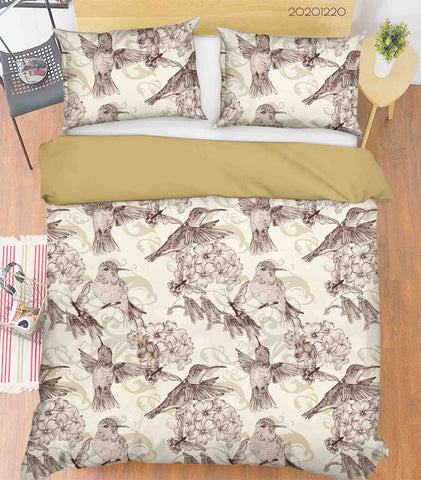 3D Hand Drawn Animal Bird Floral Quilt Cover Set Bedding Set Duvet Cover Pillowcases 30