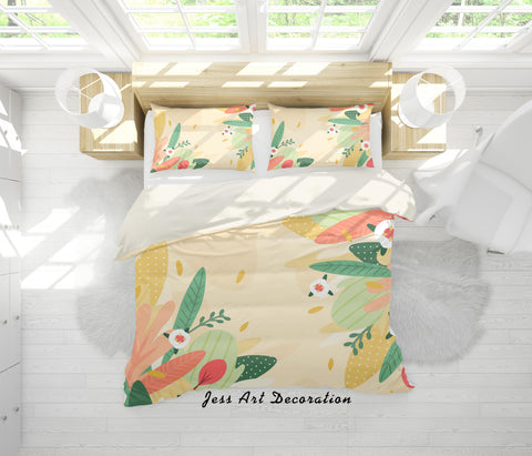 3D Colorful Leaves Quilt Cover Set Bedding Set Pillowcases 45