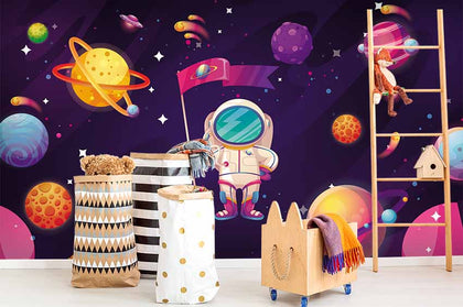 3D Cartoon Space Astronaut Wall Mural Wallpaper 11