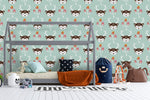 Cartoon Deer Animal Blue Wall Mural Wallpaper LXL