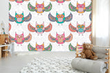 3D Cartoon Colorful Owl Wall Mural Wallpaper 15