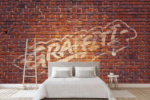 3D Dark Red Brick Graffiti Wall Mural Wallpaper 15