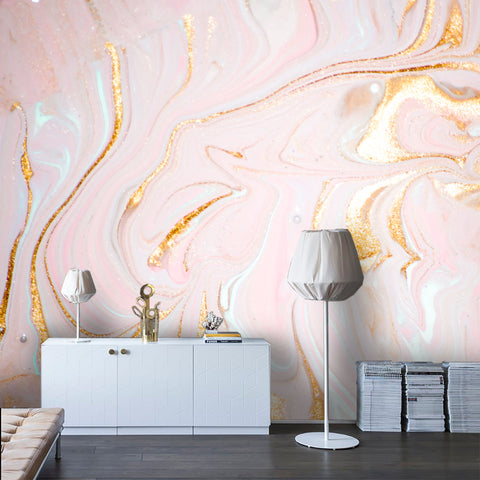 3D Abstract Pink Gilding Marbling Wall Mural Wallpaper 25 - Jessartdecoration
