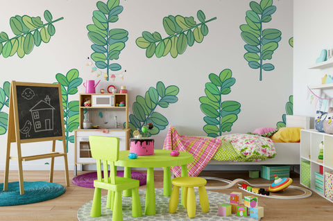 3D Green Leaves Wall Mural Wallpaper 74