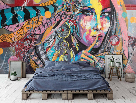 3D Color Graffiti Characters Wall Mural Wallpaper 23