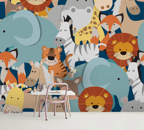 3D Cartoon Color Animal Wall Mural Wallpaper A175 LQH
