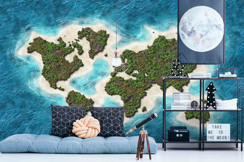 3D World Map Wall Mural Wallpaper SF02