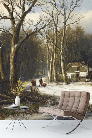 3D winter village oil painting wall mural wallpaper 99